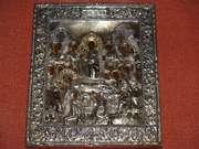 Образ Успение Пресвятой Богородицы в серебряном кованом окладе. 18 век