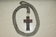 Наперсный постовой крест из дерева,  обрамленный серебром. Россия.