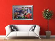Картина лентами - Летний пейзаж с зонтиком