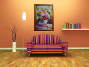 Картина лентами — Гортензия (цветы)