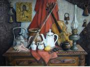 Картина маслом натюрморт с керосиновой лампой