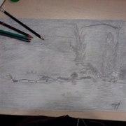 Картина,  карандаш,  А3. С наступлением ночи