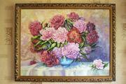 Картина с цветами букет розово-красных пионов
